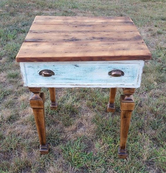 Vintage Drawer table with barn wood top and turned legs
