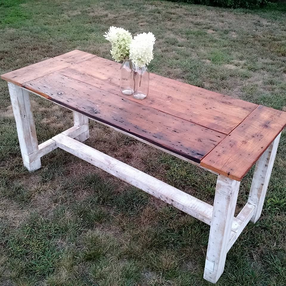 Farmhouse table with barn wood top and straight legs