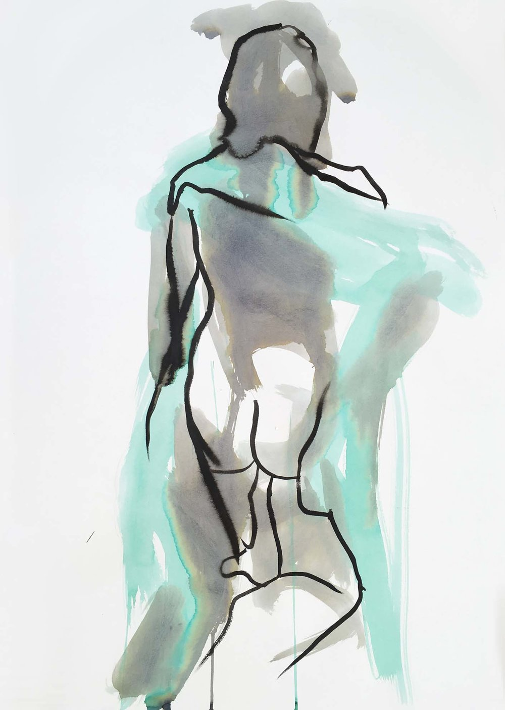 Woman with a Green Scarf III, 2017. Ink and wash on paper, w49 x h69cm.