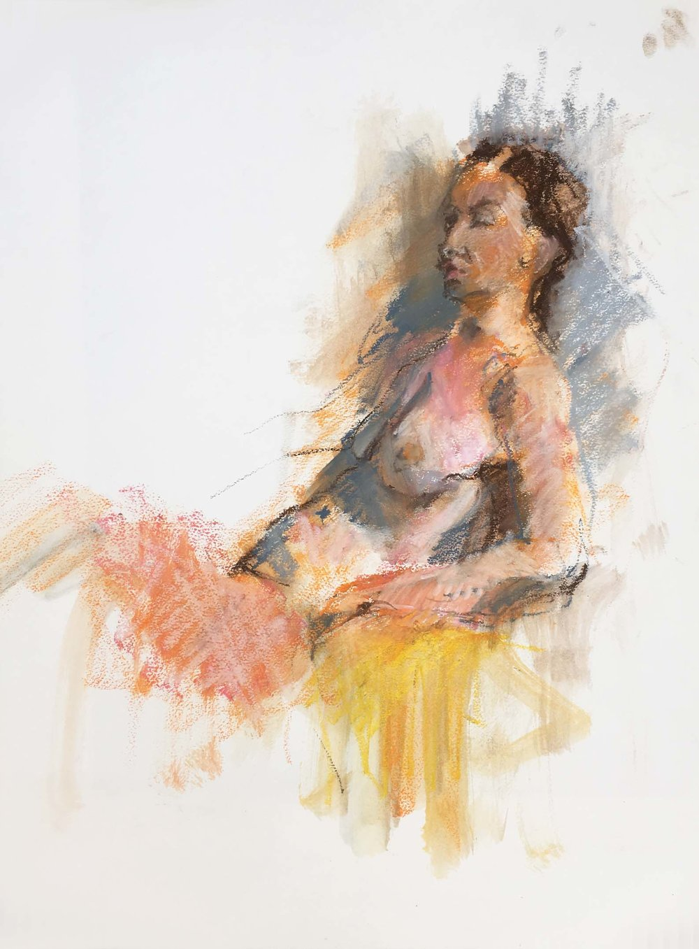 Woman on a Mustard Chair, 2005. Oil pastel on paper, w50 x h65.5cm.