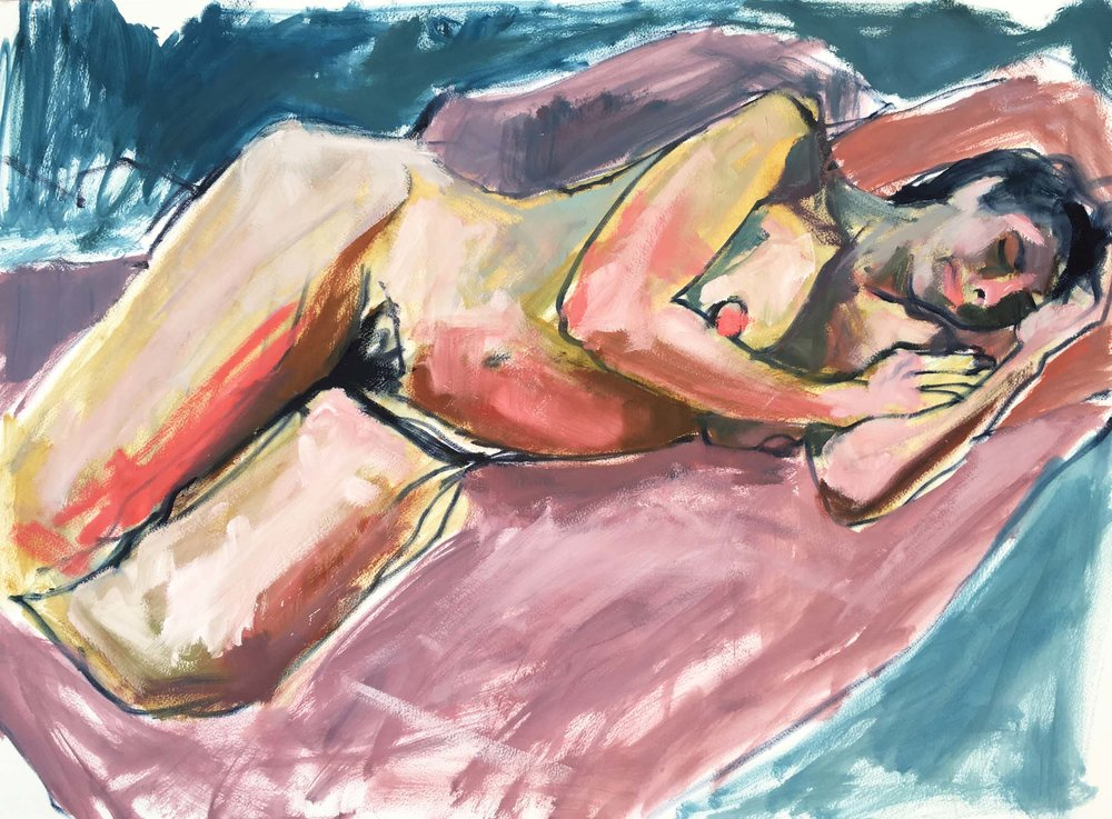 Woman on a Pink Quilt, 2017. Oil on paper, w76 x h55cm (w94.5 x h74cm framed).
