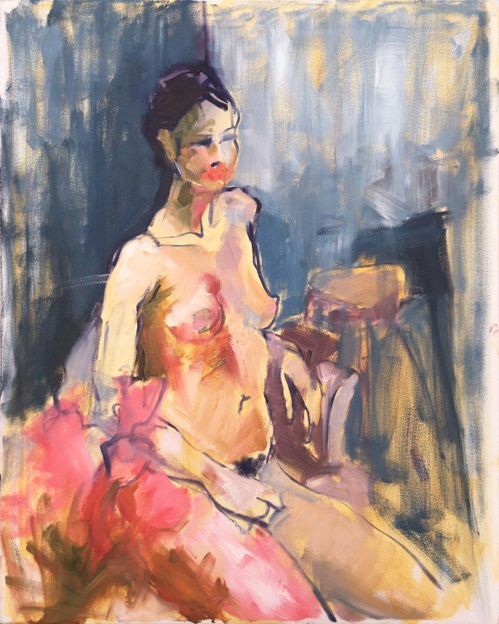 Woman Through Pink Flowers I 2018. Oil on canvas, w61 x h76cm (w65 x h80cm framed).