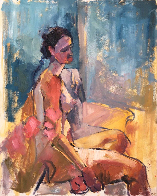 Woman Through Pink Flowers II. Oil on canvas, w61 x h76cm (w65 x h80cm framed).