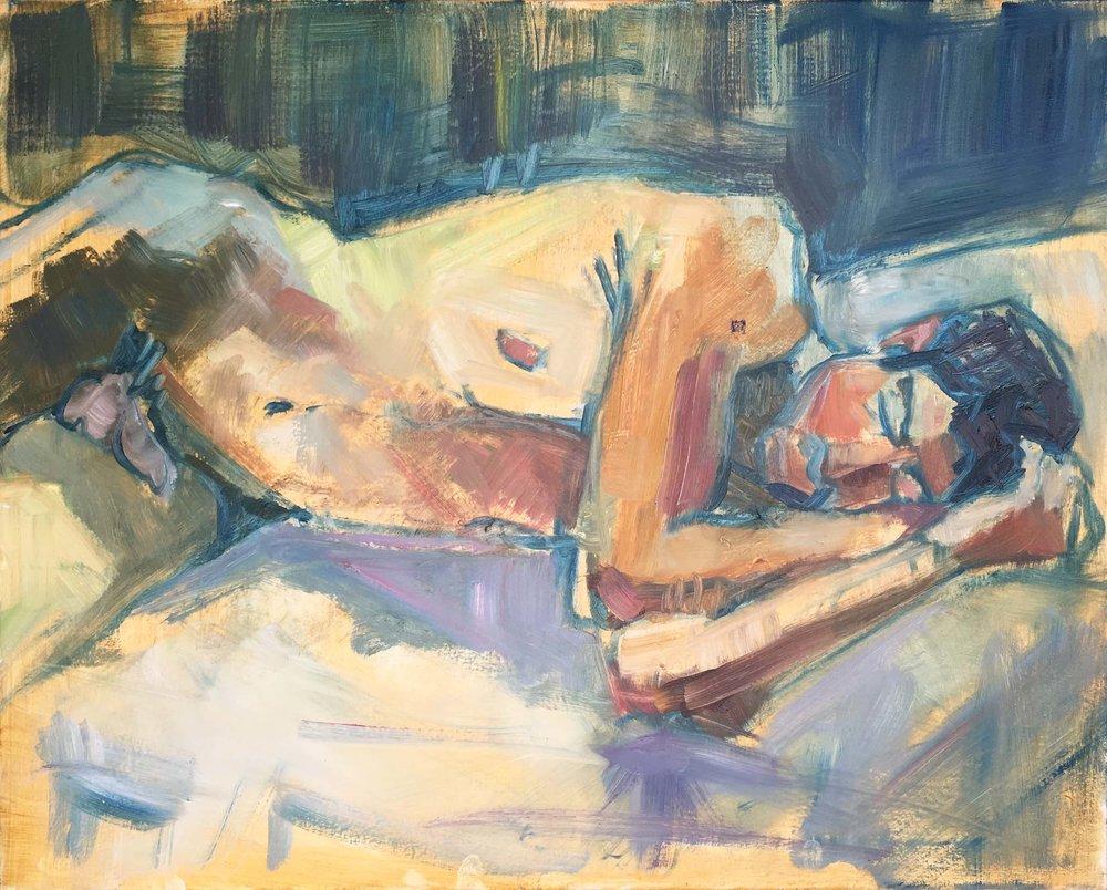 Man in Green, 2018. Oil on canvas, w76 x h61cm (w80 x h65cm framed).