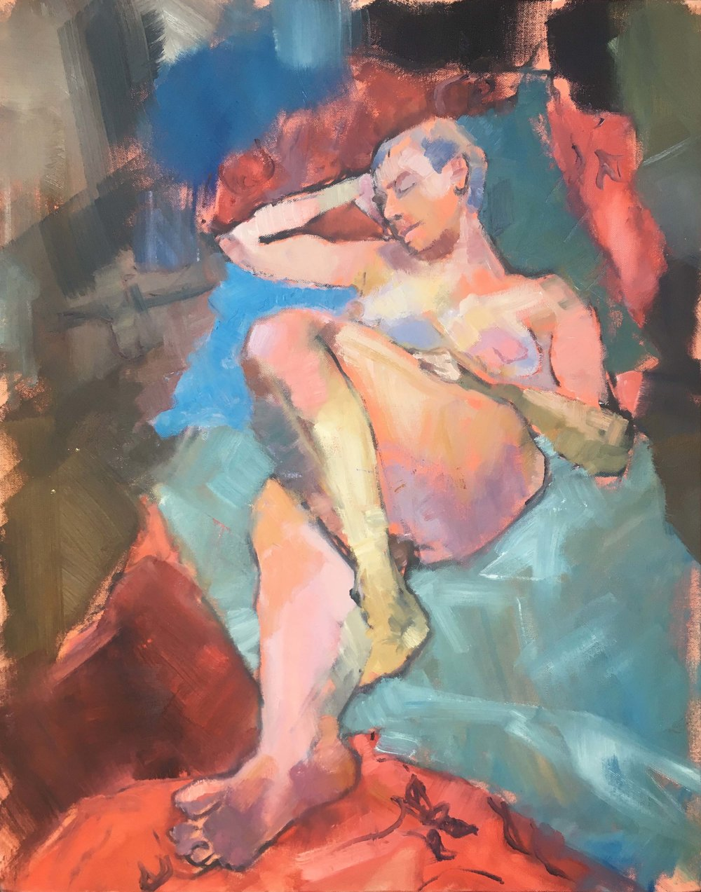Reclining Nude with a Blue Cushion