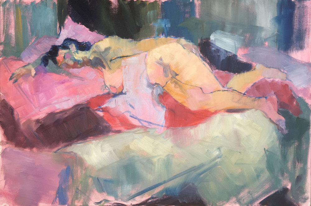 Woman with Blankets