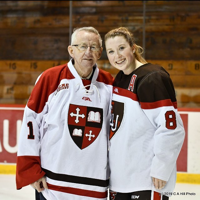 Great to see former all-American Saints goalie Bill Sloan '56 back on the ice at Appleton today with his granddaughter, Kalie Grant '20! 📸: Carol Hill (@saabski ) #sluhockey #sluhockeyalumni