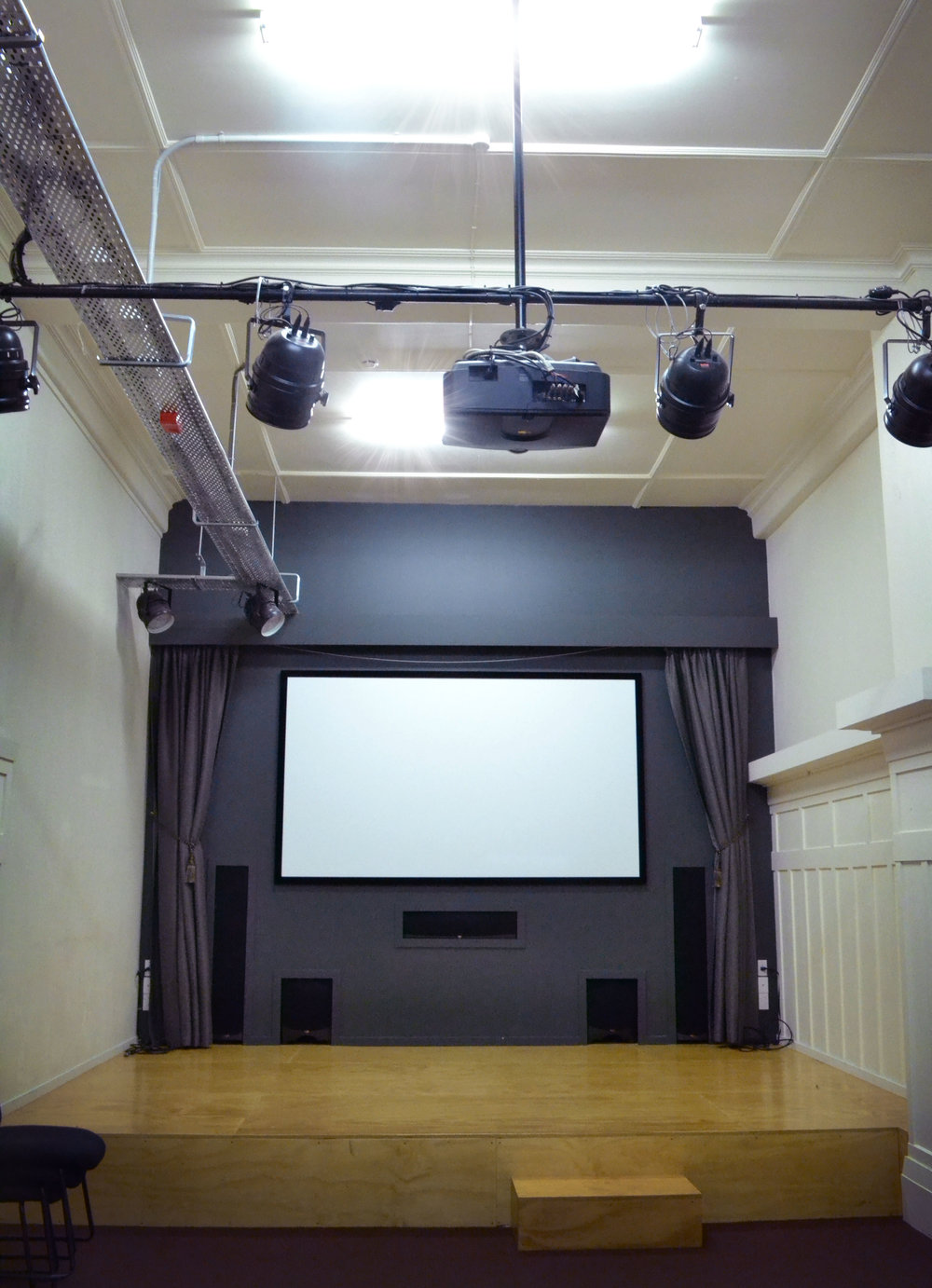 The FX Theatre seats up to 36 people and has an AV system well suited to screening movies or for performances such as readings, solo-shows and public talks.