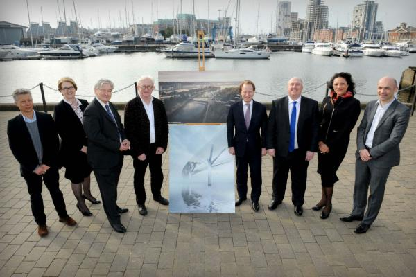 From left to right: David Summerfield, Foster + Partners, Suzanne Buck, Project Manager, Councillor Guy McGregor, Lead councillor with responsibility for the Upper Orwell Crossings, Spencer De Grey, Joint Head of Design at Foster + Partners, Ben Gummer MP, Colin Noble, Leader of Suffolk County Council, Deborah Cadman, Chief Executive of Suffolk County Council, Niall Dempsey, Foster + Partners.