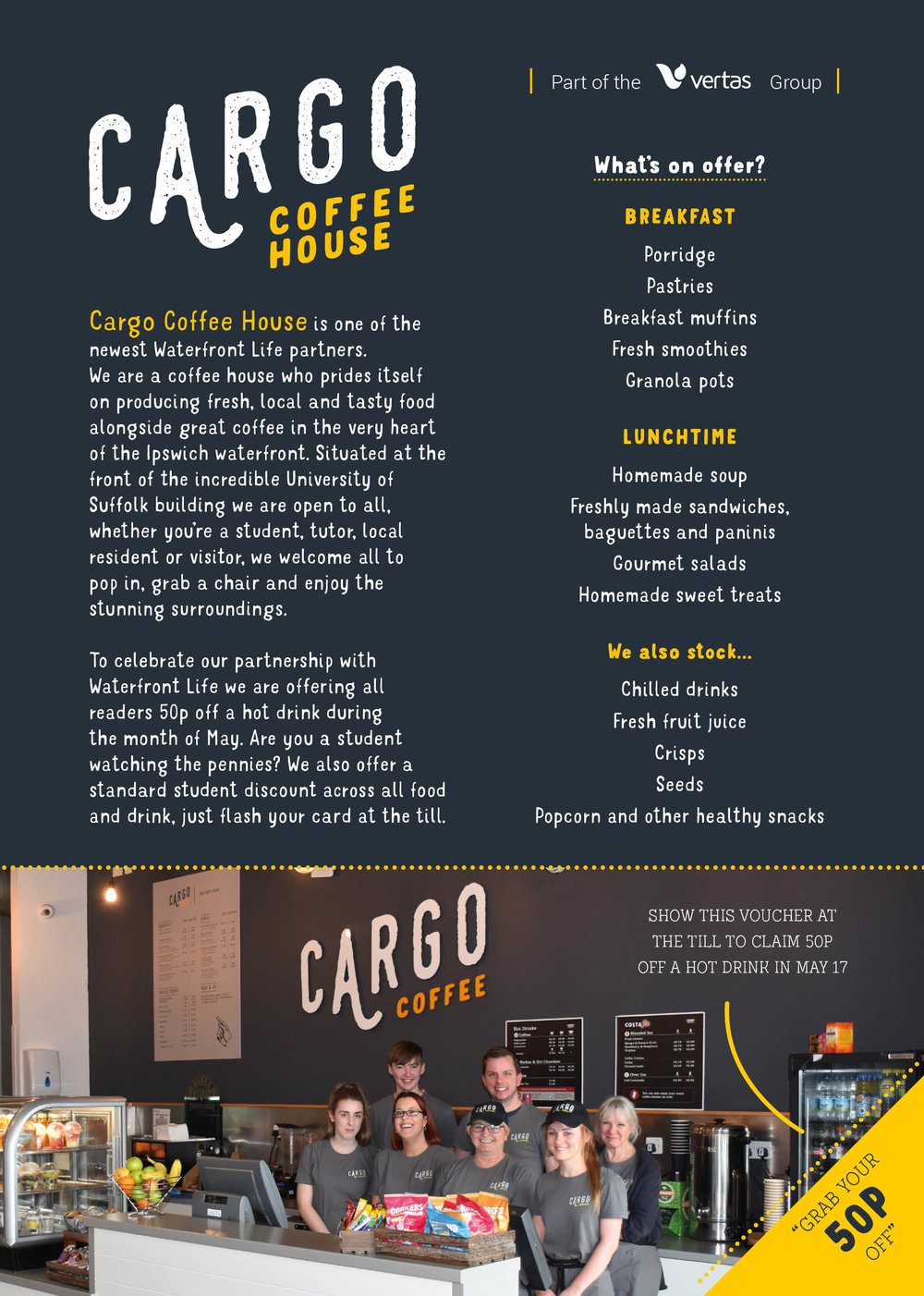 cargo coffee, university of suffolk, ipswich, waterfront, cafe