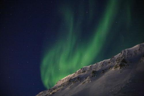 Aurora over Ice Warrior Training Base in Nybyen, Spitsbergen