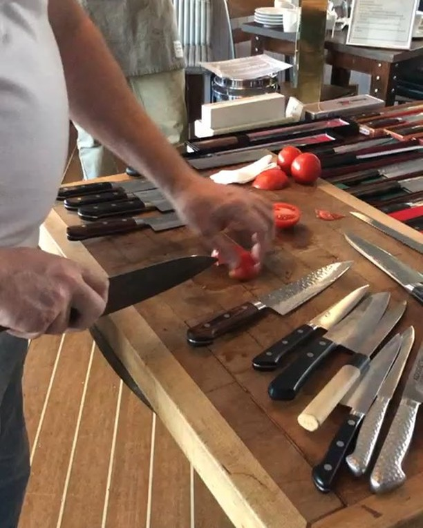 Excellent knife skills demo from @kinknives aboard @marinersipswich last week! Look at those beauties 😍