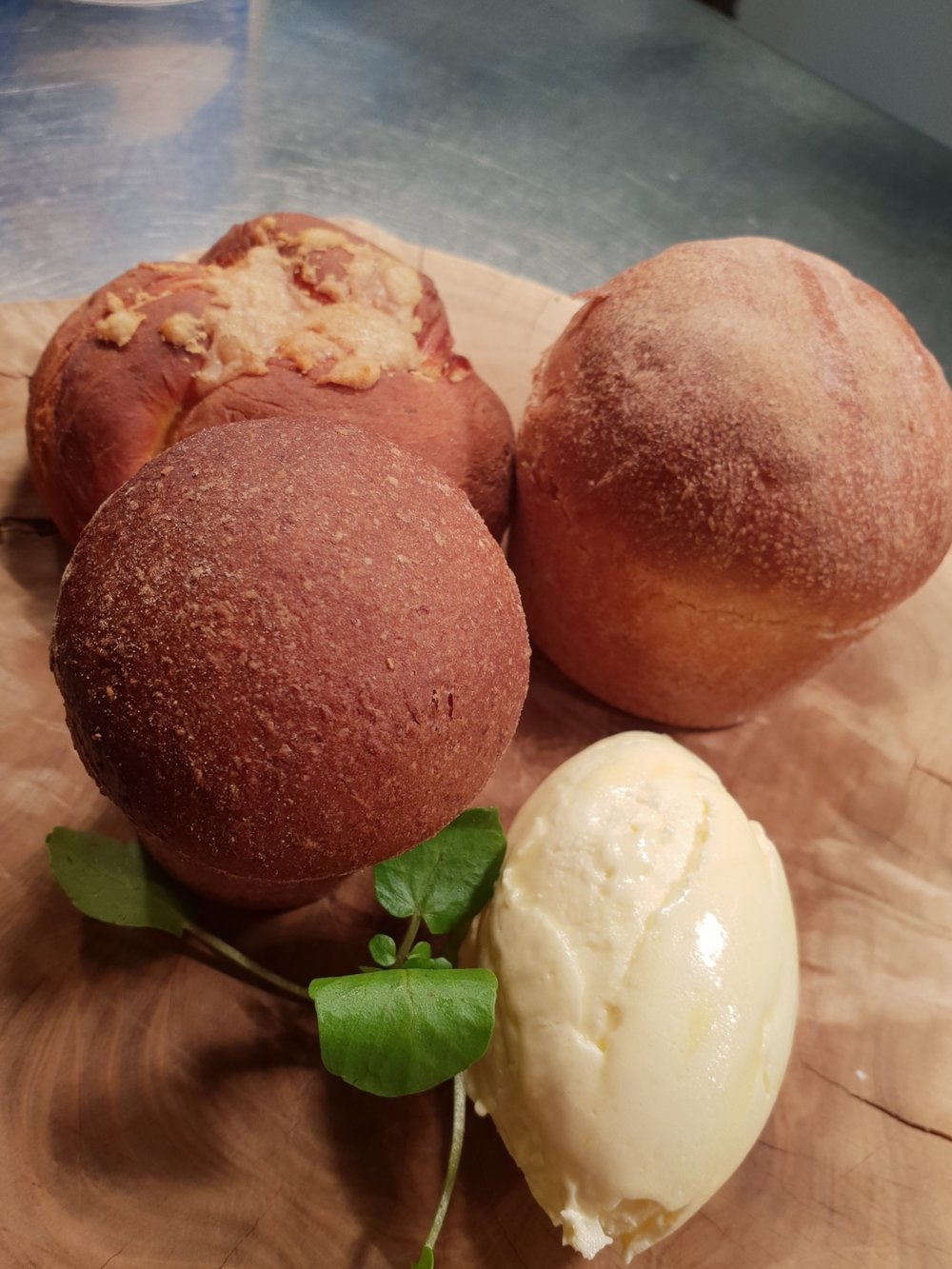 Homemade breads, whipped truffle butter