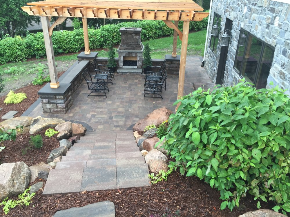 Stairs, patio, pergola, seat wall, fireplace