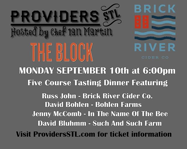 Next #ProvidersSTL Dinner is Sept 10th @brickrivercider  Limited number of tickets available. Click link in bio for more details #dinnerseries #eatlocal #drinklocal
