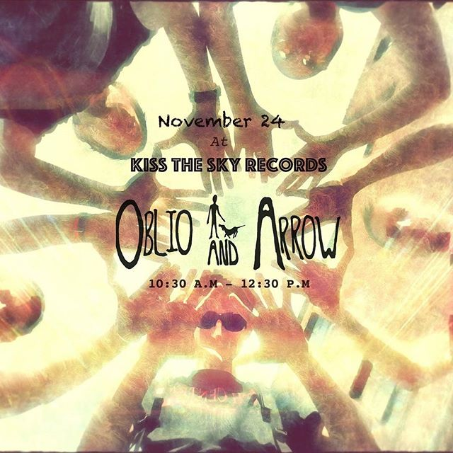 We're really looking forward to this one! Nov.24th we'll be heading over to @kisstheskyrecords records to perform a special set we've been getting ready for ya! We'll be kicking off the jams at 10:30 am and playing till 12:30. Bring coffee, grab lunch, buy some #records and rock out to some #livemusic  #oblioandarrow  Also, you can catch us on 11/20 at the Wire in #berwyn playing a stripped down set of some new tunes! #originalmusic #indie #rock