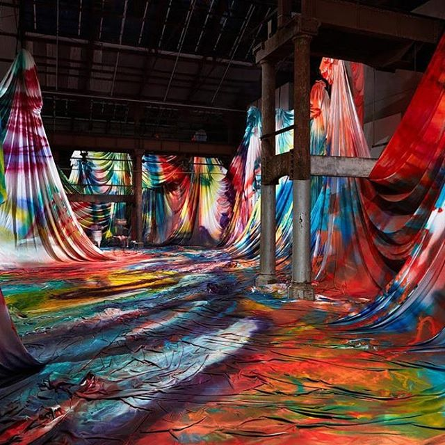 Artist Katharina Grosse brings a kaleidoscopic paint job to her site-specific installation at Sydney's Carriageworks gallery with The Horse Trotted Another Couple of Metres, Then It Stopped . . . #art #design