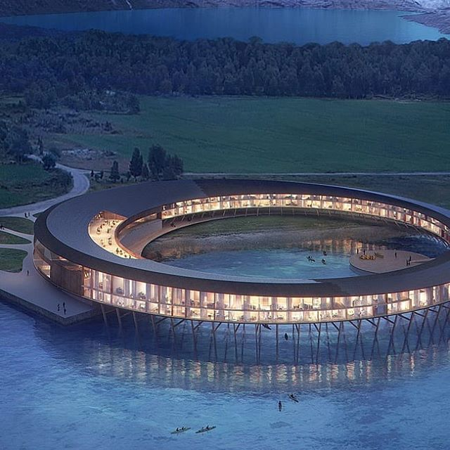 Recently revealed plans by Snøhetta for an energy positive hotel above the arctic circle that reduces its yearly energy consumption by approximately 85% compared to modern hotels and produces its own energy . . . #architecture #design #architect #energypositive