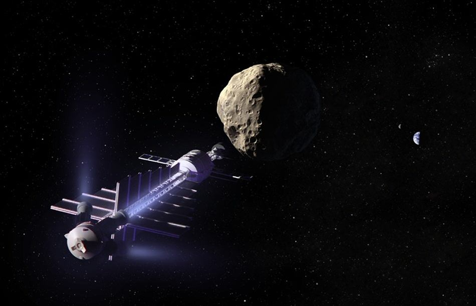 "Artist's concept of a gravity tractor, a concept proposed by Ed Lu and Stan Love to gently change the orbit of an asteroid by letting it slowly ""fall"" toward a hovering spaceship nearby."
