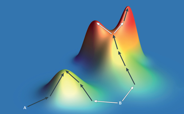 Illustration of fitness landscape gradient descent. The communication code B can evolve into two optima hills, but at each bifurcation lies a choice which should be pondered with the maximum of information.