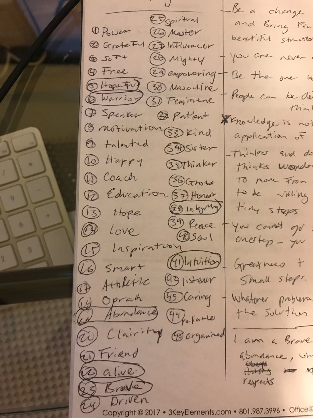 My to-be list with 40+ qualities I'd like to emulate. The 7 circled are those that resonate most with me and are combined to create my declaration statement.