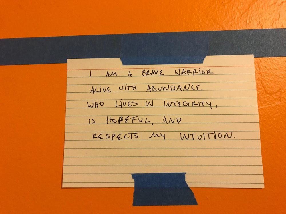 My declaration statement proudly displayed at the top of my vision board.