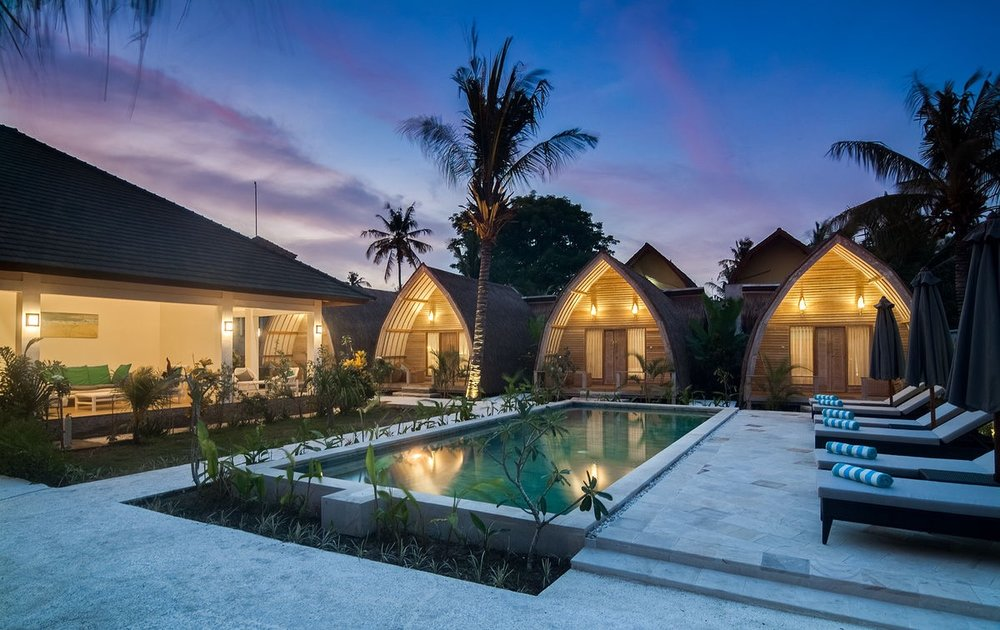 GILI AIR ESCAPE - Gili Air  -    Gili Air Escape, A small island resort offering luxury accommodation with onsite swimming pool. Situated in lush tropical gardens and only moments from white sandy beaches.