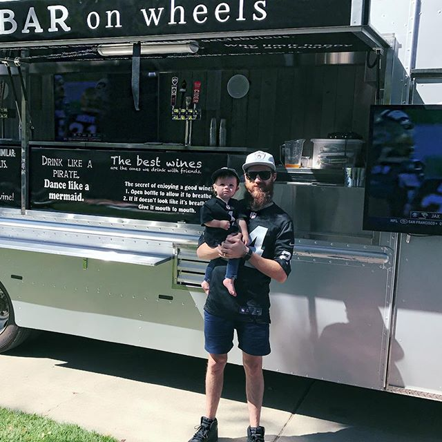 Book the Guzzler for your next sporting event party!  #cutestbaby #raiderfans #privateevent #sundayfootball #fatherandson #beertruck #theguzzler