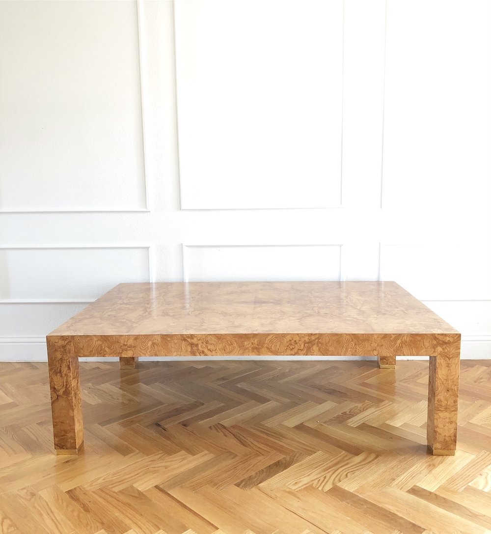 CEH Label: Custom Burl Coffee Table Parsons Leg