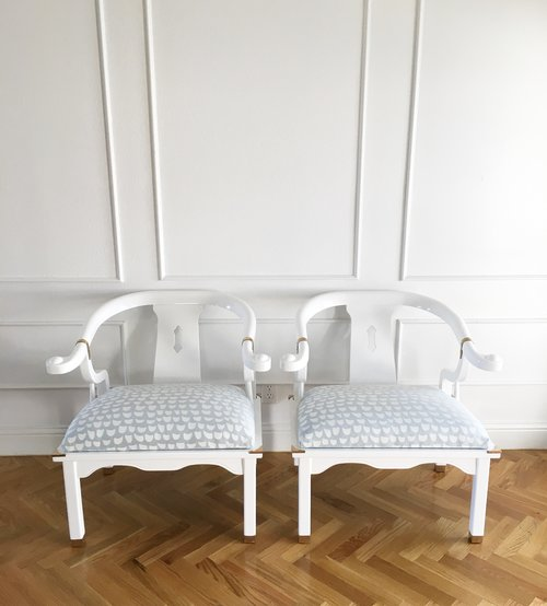white laquer furniture. Delighful Furniture VINTAGE MING CHAIRS  WHITE LACQUER NEW FABRIC PAIR To White Laquer Furniture
