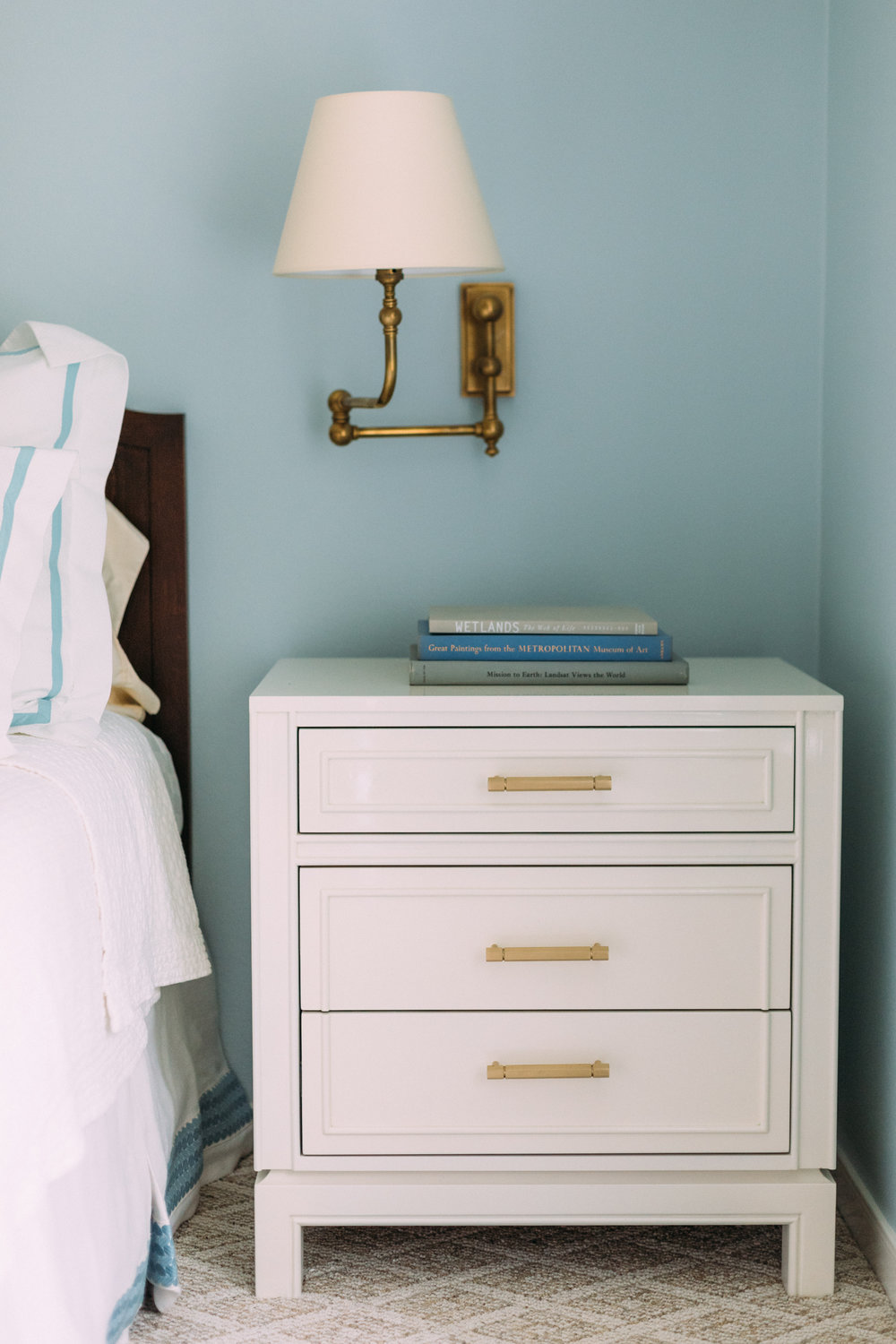 "CEH LABEL ""Bridget"" Nightstand in a custom size, color, and hardware  Photo Credit: Kelly Christine Sutton"