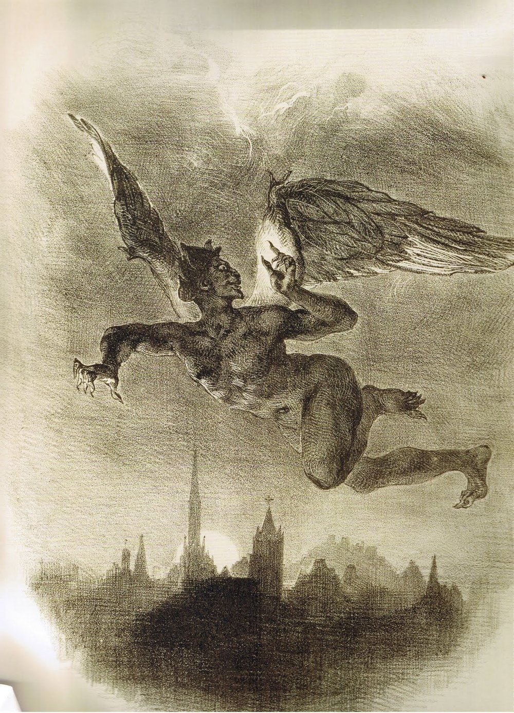 Eugène Delacroix French, 1798 - 1863. Mephistopheles Drawing by Litz Collection