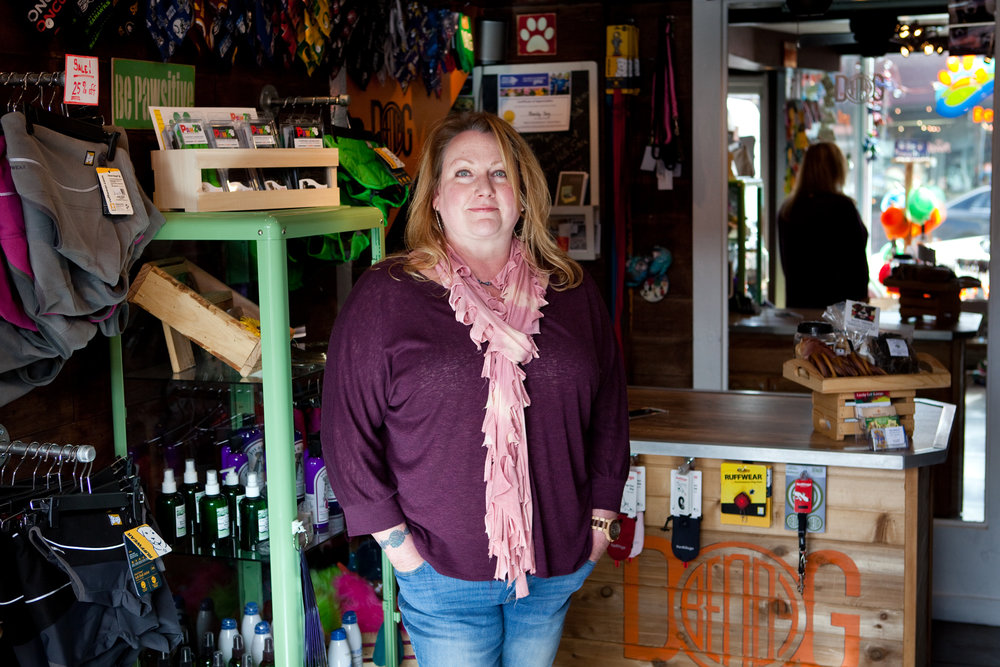 Tawna Storey, 45, in her shop, Bendy Dog