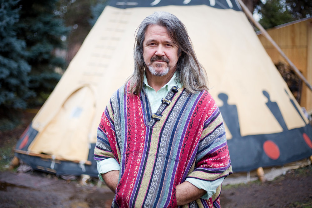 Eric Marley, 52, outside his tipi