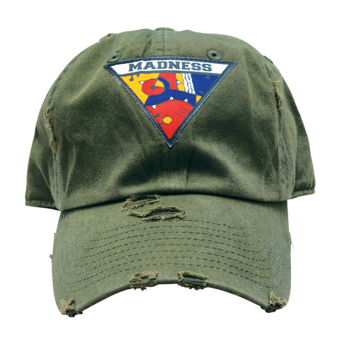 MADNESS TRIANGLE LOGO DISTRESSED DAD HAT OLIVE GREEN — Universal Madness b2a61d71b52
