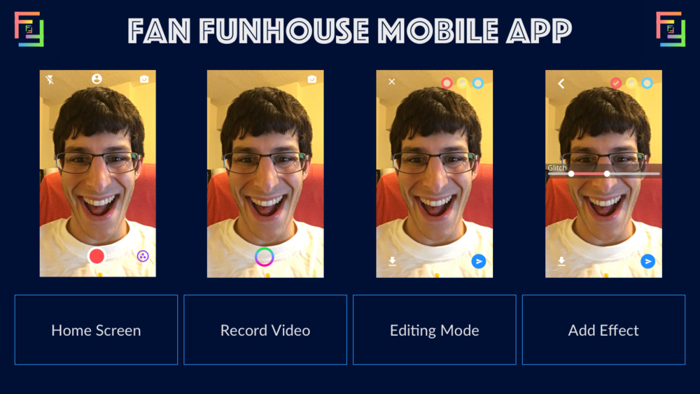These mockups illustrate early design concepts for the Fan Funhouse mobile app.