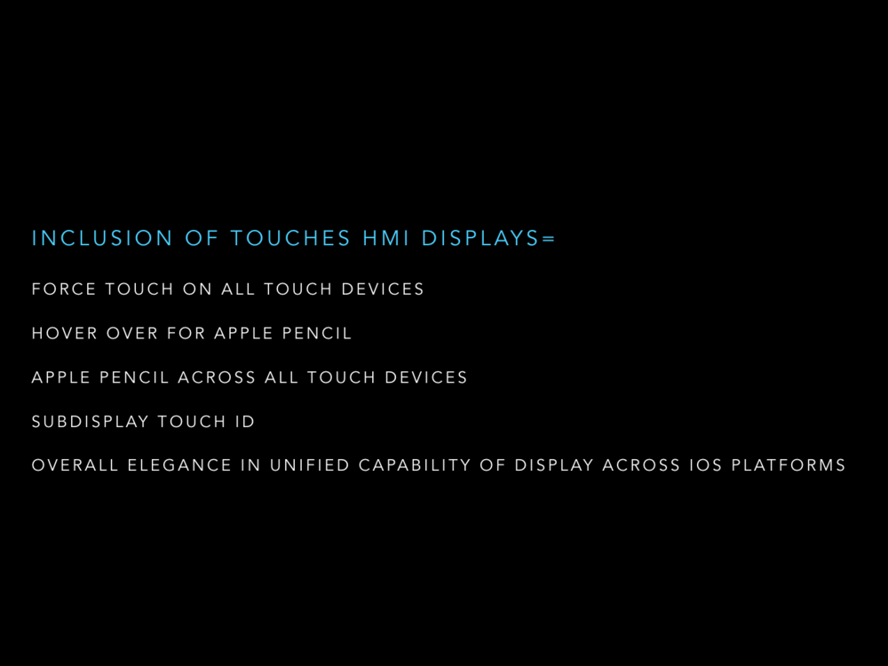 Many shortcomings of the current touch ecosystem can be resolved through adoption of LCD technology capable of Touch-less Human Machine Interaction capabilities. RADI can achieve both radiation detection and touch-less HMI interactions. Some devices have the force touch interaction like the iPhone, but tablets cannot because of the way force touch is calculated. Adopting a new standard that can be implemented across all devices should be a priority in order for OS's not to splinter long term. All devices can have a unified design language and secondary interaction pattern.