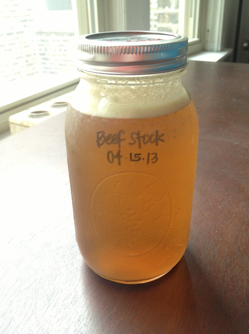A quart of homemade beef stock.