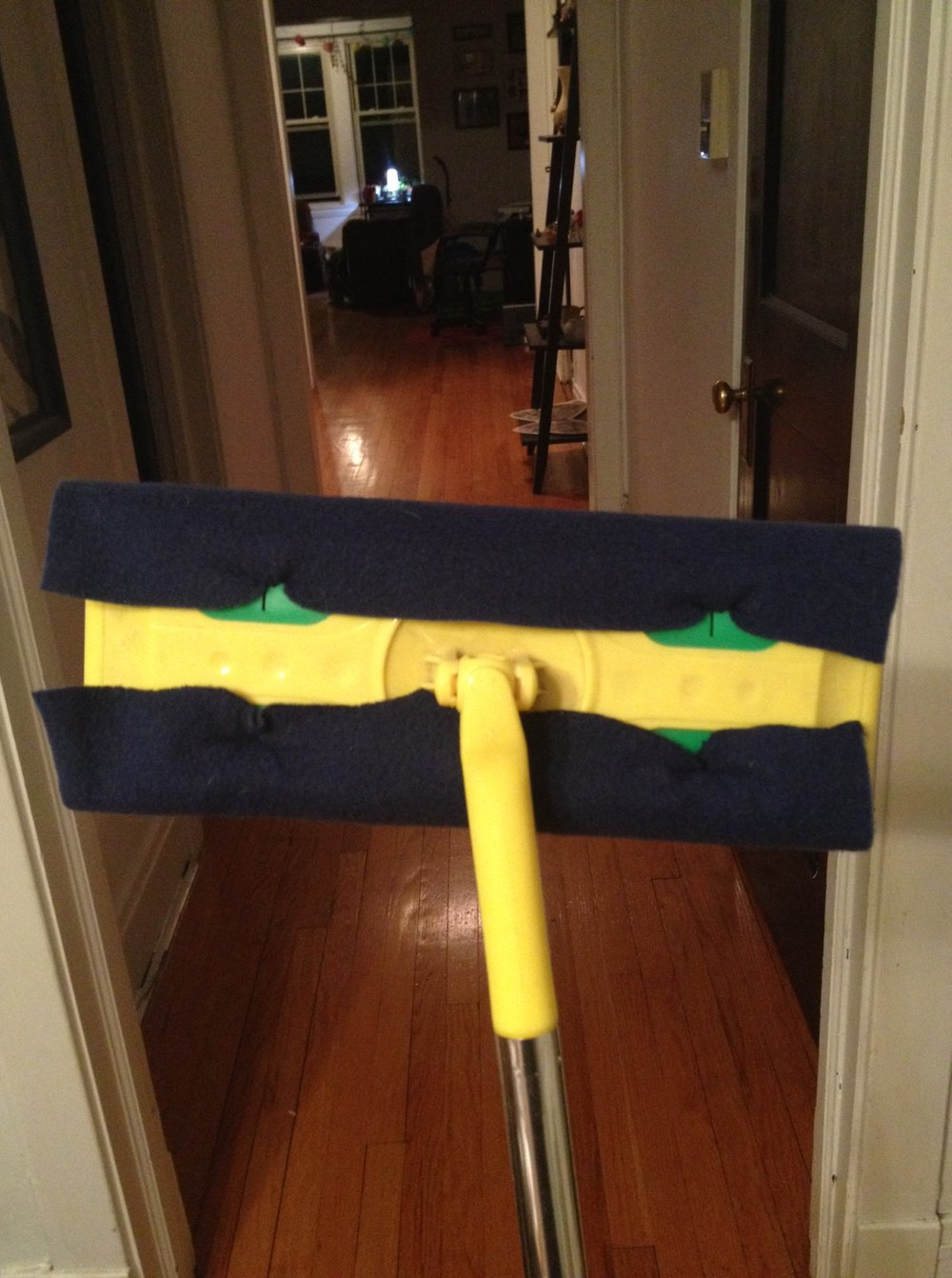 Navy blue cloth on Swiffer - back