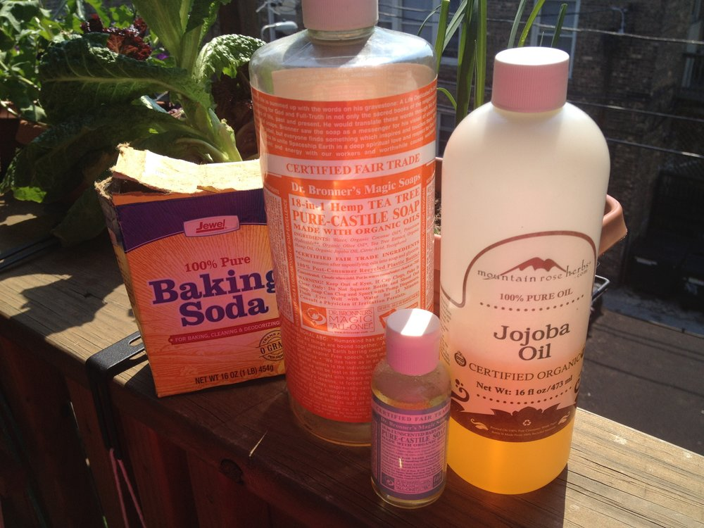 Baking Soda, Dr. Bronner's Tea Tree, Dr. Bronner's Baby Mild, Mountain Rose Herbs Certified Organic Jojoba Oil