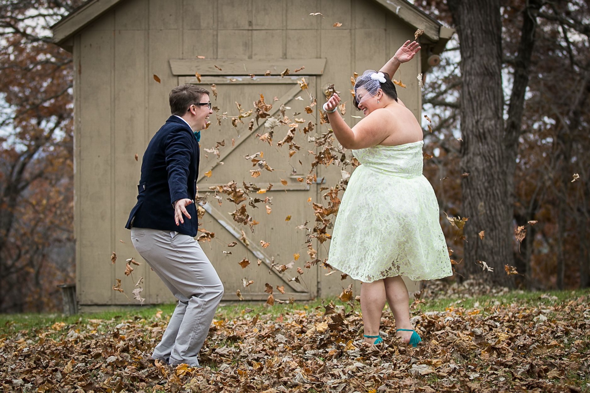 Goofing off on our wedding day