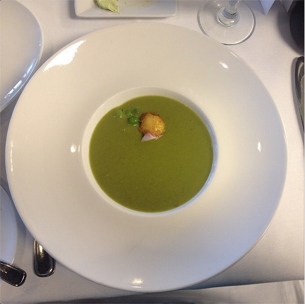 Pea soup with roasted lemon puree and breaded goat cheese at Kendall this past spring