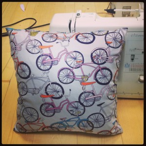 The cute pillow Kristl sewed in The Needle Shop's Sewing 101