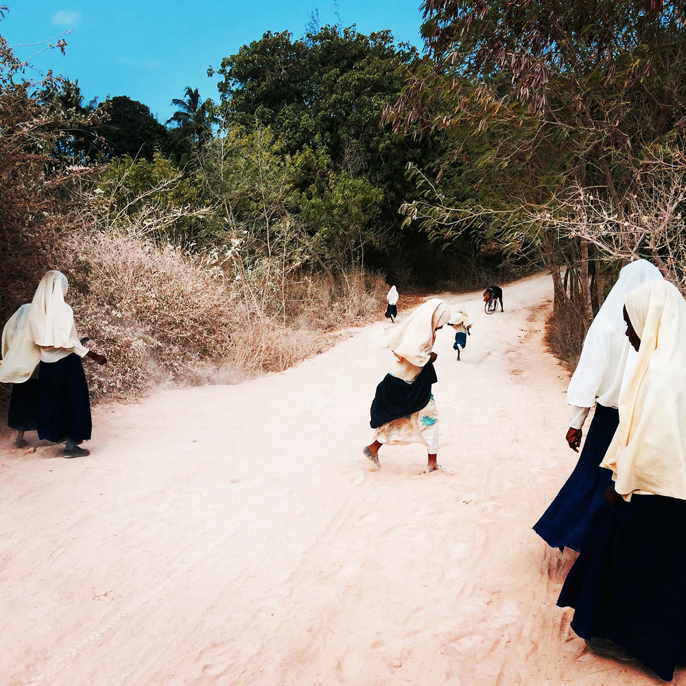 Girls on the way home from Madrassa (Koranic school)  Kendwa, Zanzibar