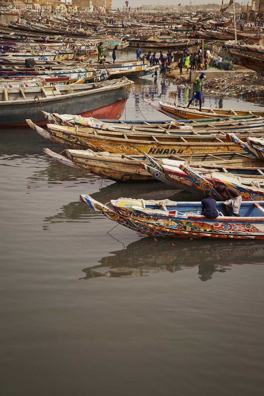 Moored fishing boats  Saint Louis, Senegal
