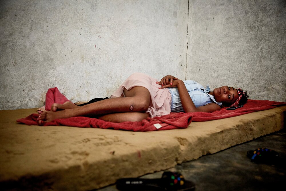 Women resting before work begins on a Saturday night