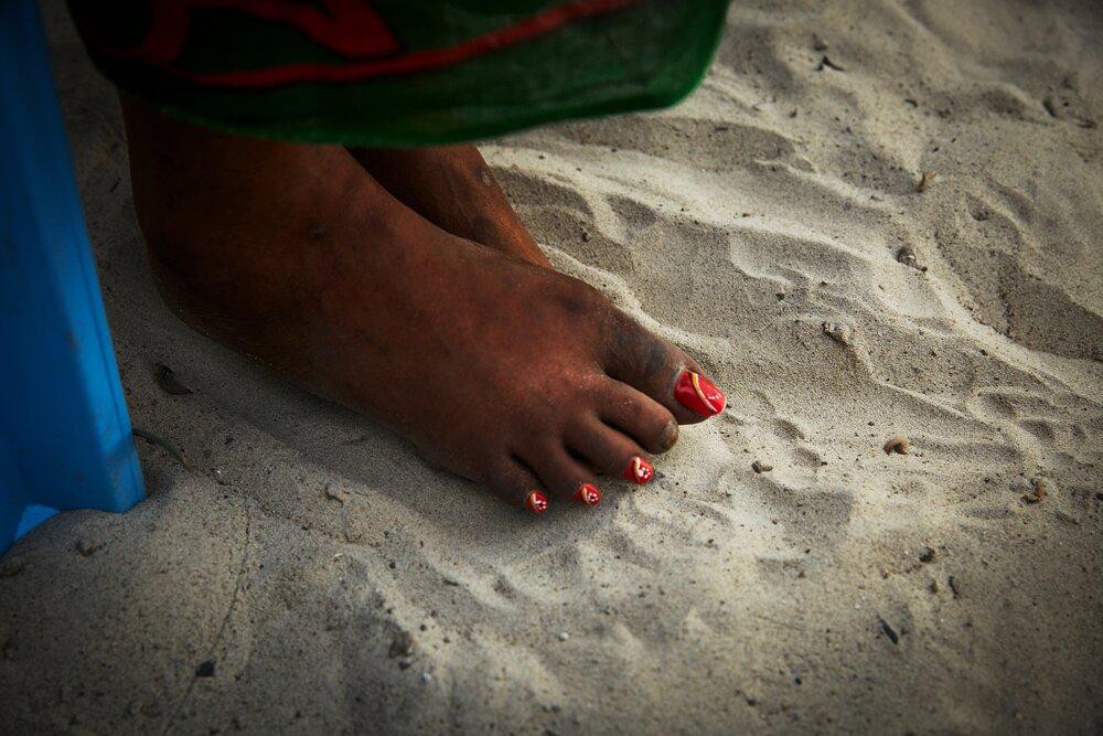 Glued on toenails