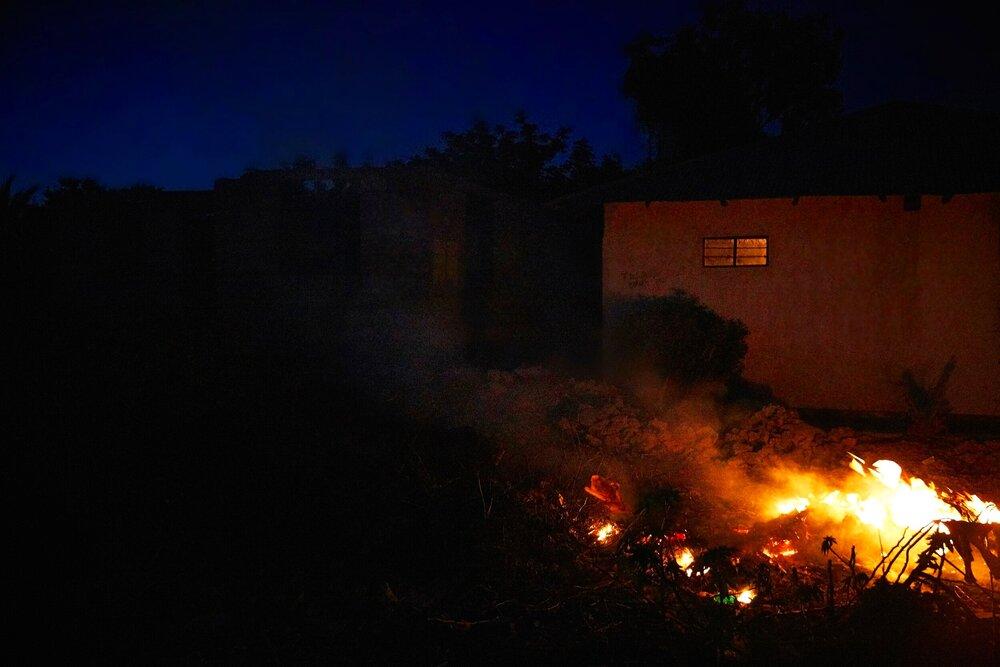 Trash is burned nightly