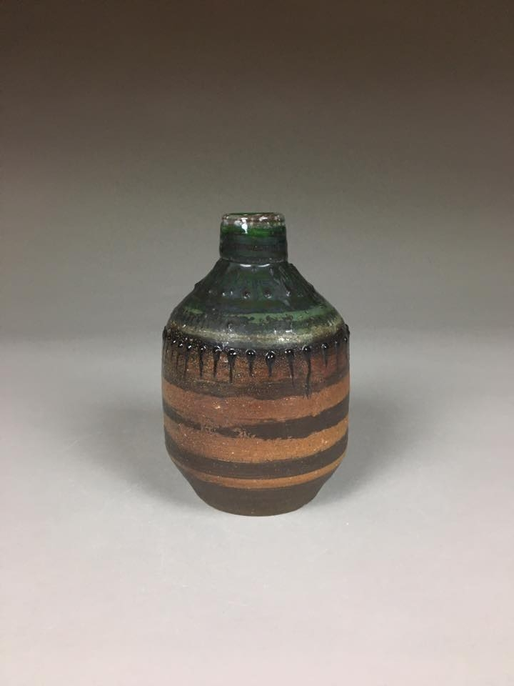Green Bottle,  earthenware, ∆10 soda firing