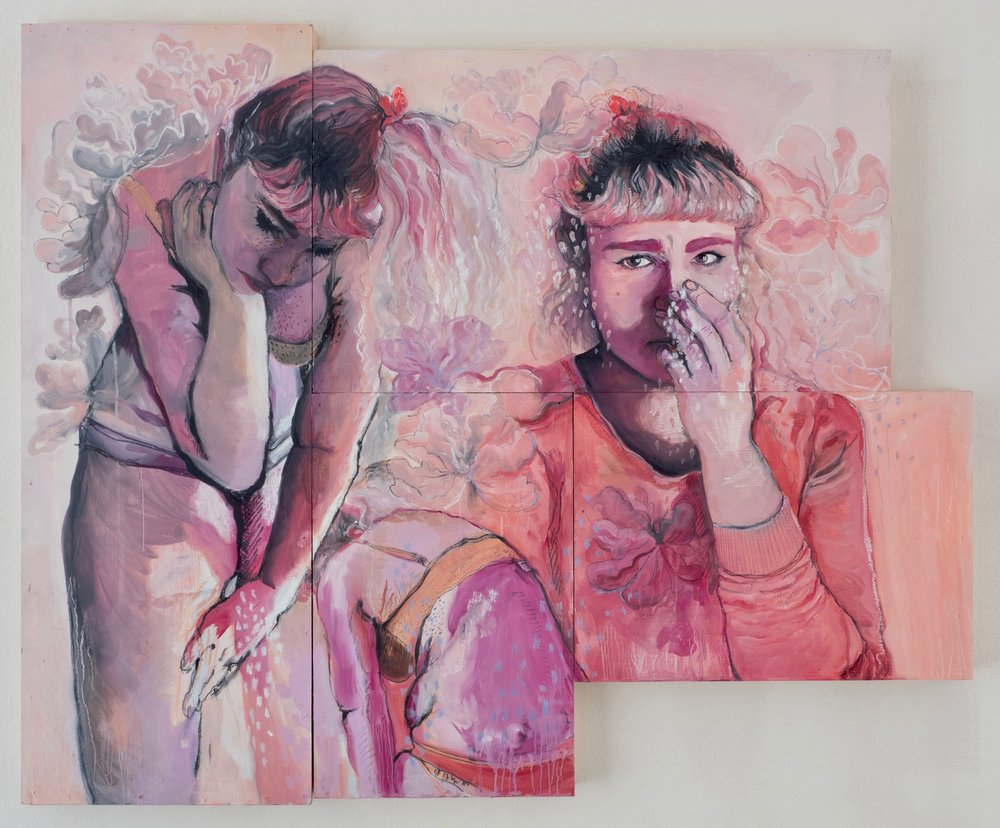 Sense (of self), oil paint, pastel, graphite, charcoal, ink, and chalk on panel (4pcs)